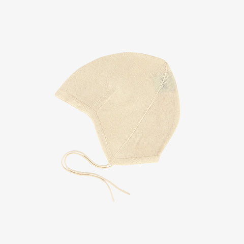 Organic Cotton Baby Bonnet - Ecru - 0-18m