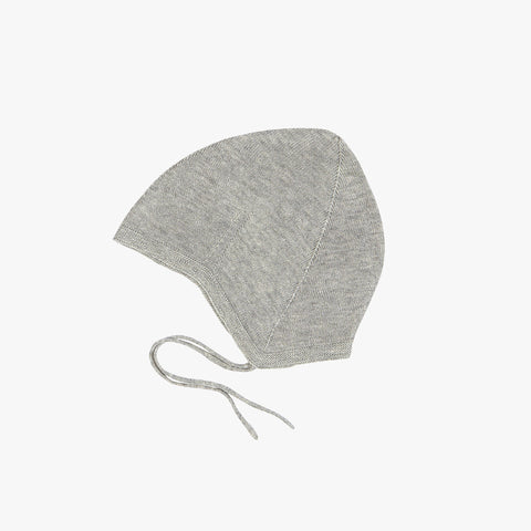 Organic Cotton Baby Bonnet - Light Grey - 0-18m