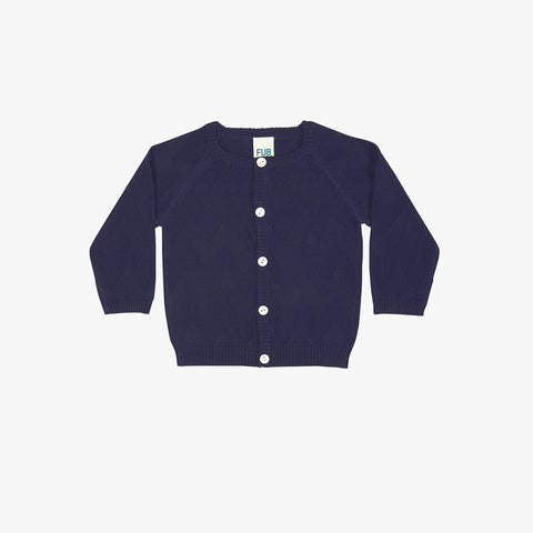 Organic Cotton Baby Chevron Cardigan - Navy - 0-24m