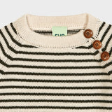 Chunky Merino Baby Sweater - Ecru/Brown - 3m-2y