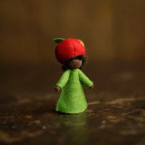Handmade Autumn Wool Fairy - Apple - Black