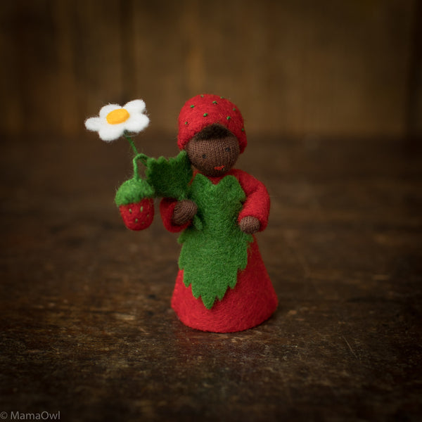 Handmade Wool Fairy With Flower- Strawberry Boy - Black