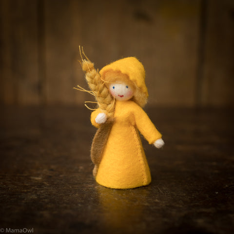 Handmade Wheat Wool Fairy With Flower - Wheat