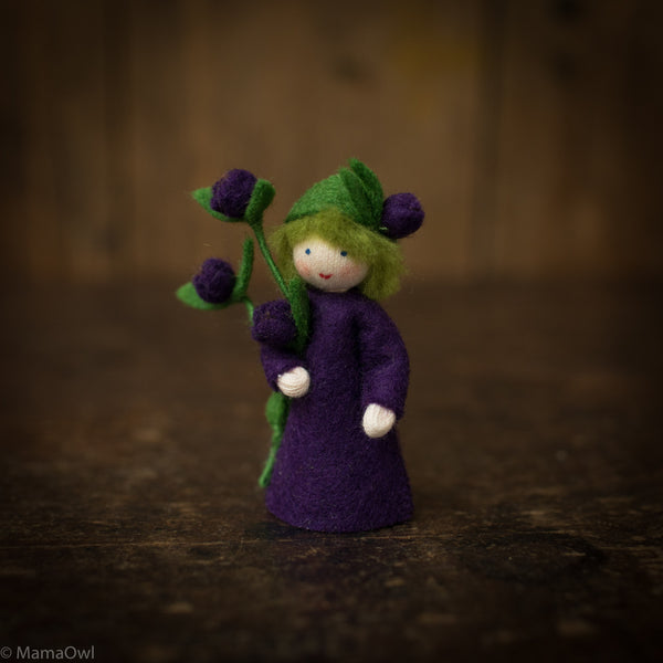 Handmade Wool Fairy With Flower - Blueberry Boy
