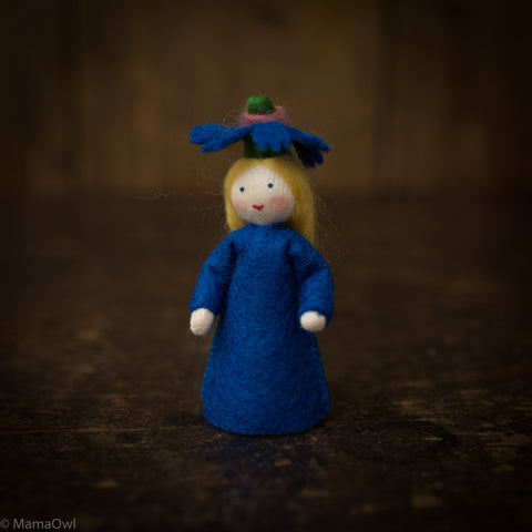 Handmade Wool Fairy - Cornflower - White