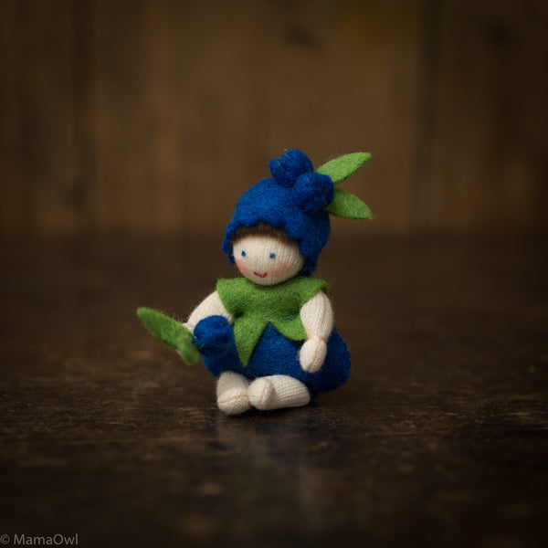 Handmade Wool Fairy With Flower- Blueberry Baby