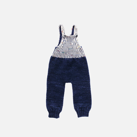 Hand Knit Merino Wool Fisherman Overalls - Ink - 3-4y