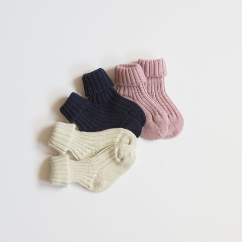 100% Organic Wool Long Baby Socks - Rose, Natural or Navy - 0-18m