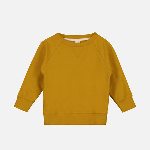 Organic Cotton Crewneck Sweater - Mustard