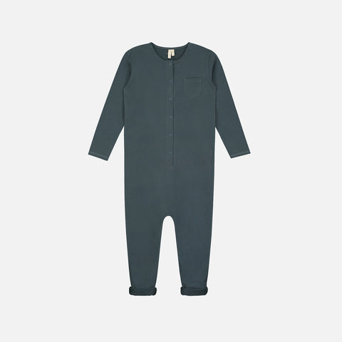 Organic Cotton LS Playsuit - Blue Grey