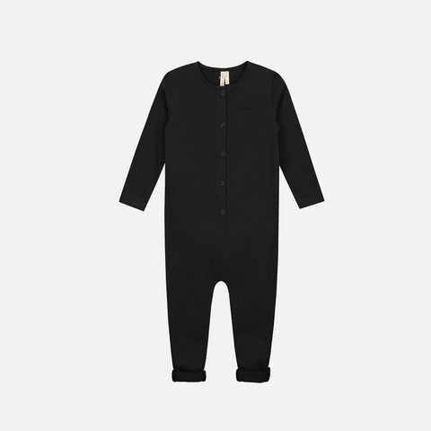 Organic Cotton LS Playsuit - Nearly Black - 1-3 & 10y
