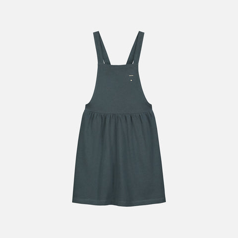 Organic Cotton Pinafore Dress - Blue Grey