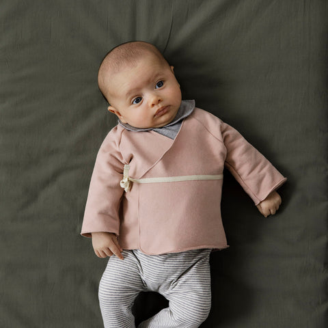 Organic Cotton Cross Over Baby Cardigan - Vintage Pink