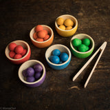 6 Wooden Bowls & Marbles