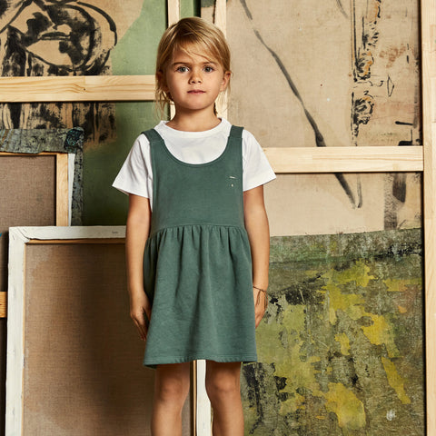 Organic Cotton Pinafore Dress - Sage - 12m-8y