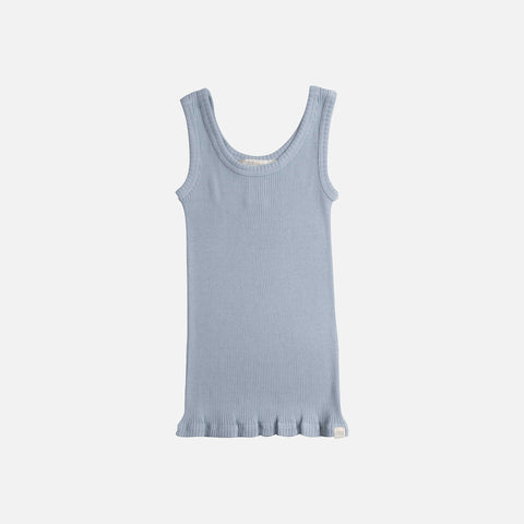 Adult Silk/Cotton Rib Tank Top - Fog Blue