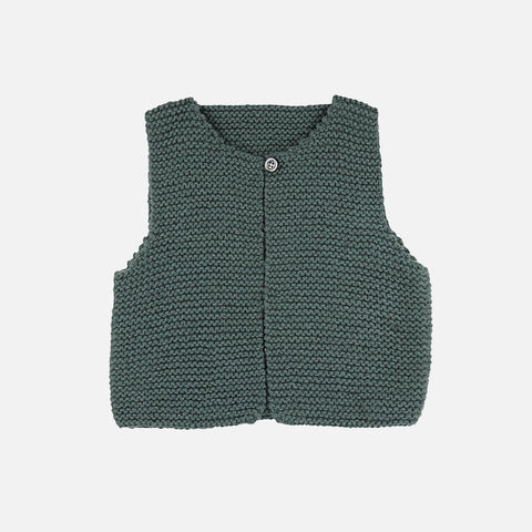 Hand Knitted Garter Stitch Waistcoat - Teal - 2y