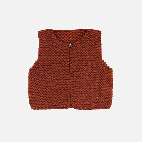 Hand Knitted Garter Stitch Waistcoat - Red Squirrel - 12m