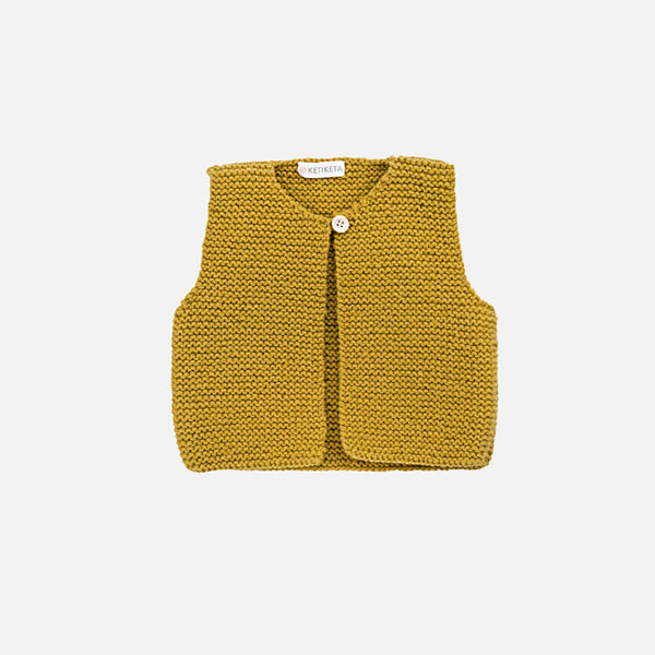 Mousse Hand Knitted Waistcoat - Curry - 18m-2y