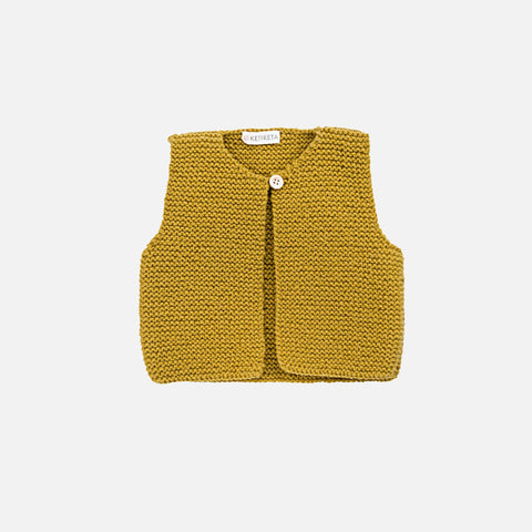 Mousse Hand Knitted Waistcoat - Curry - 6m-2y