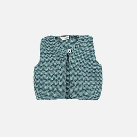 Mousse Hand Knitted Waistcoat - Teal - 6m-2y