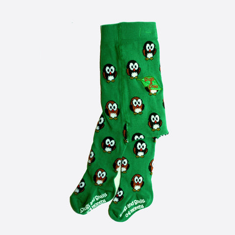 Organic Hoot Owl Tights - Forest Green - 12m-5y