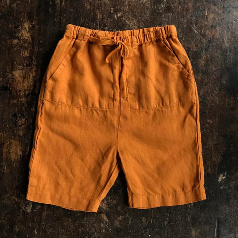 Exclusive Linen River Shorts - Sunrise Orange