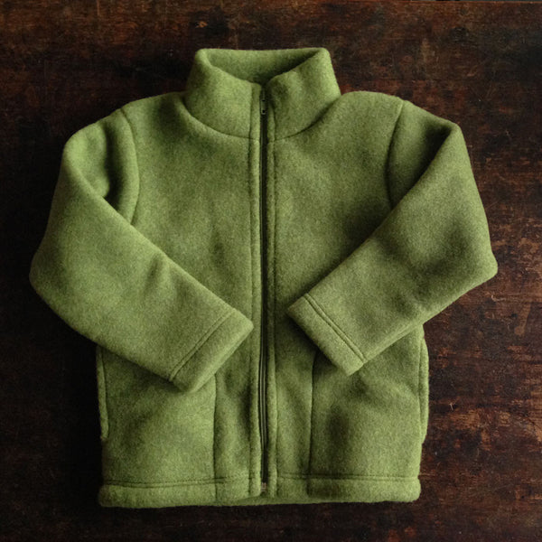 100% supersoft Organic Merino Wool Fleece Jacket - Moss Green - 3y-8y