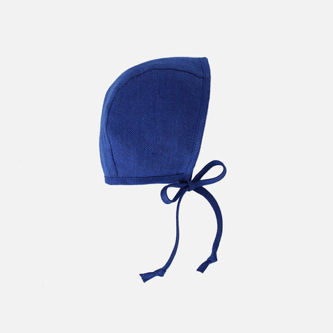 Cotton/Hemp/Wool Bonnet - Cobalt - 0m-4y