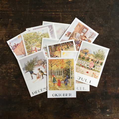 Elsa Beskow Set of All Months of the Year Postcards