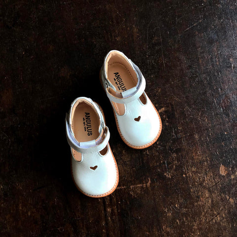 T-Bar Heart Toddler Shoes - White