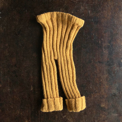 Hand-Knitted Alpaca/Wool Rib Pants - Ochre