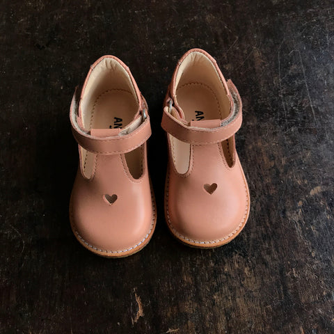 T-Bar Heart Toddler Shoes - Dusty Pink