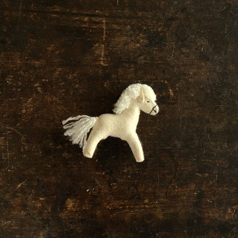 Handmade Wool Felt Small White Horse