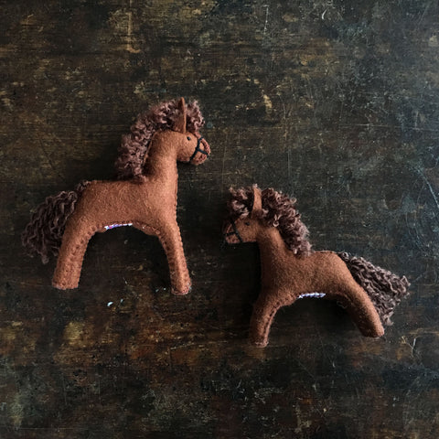 Handmade Wool Felt Large Brown Horse