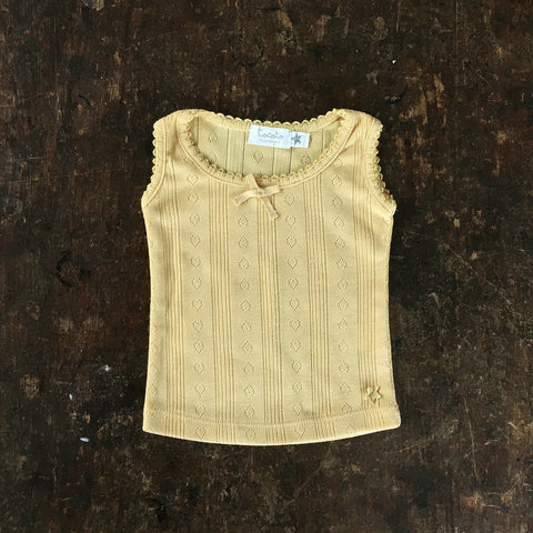 Cotton Pointelle Sleeveless Top - Mustard - 3m-2y