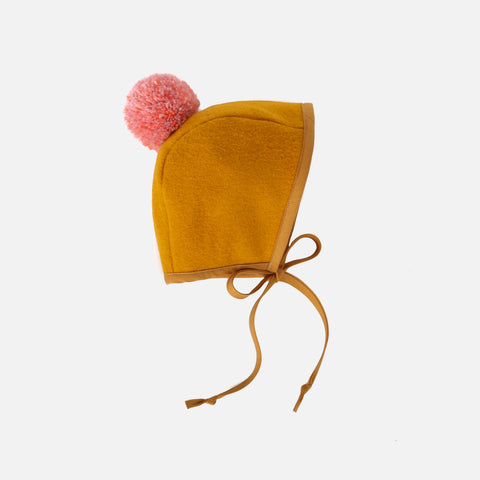 Wool Pom Pom Bonnet - Hullabaloo - 0-3m
