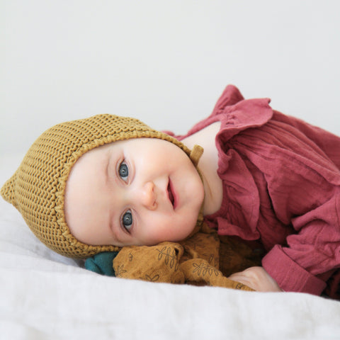 Organic Cotton Knitted Bonnet - Cassonade - 0-24m