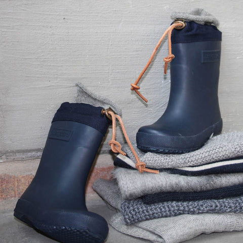 Natural Rubber Boots - Wool Lined - Blue - EU20 - 36
