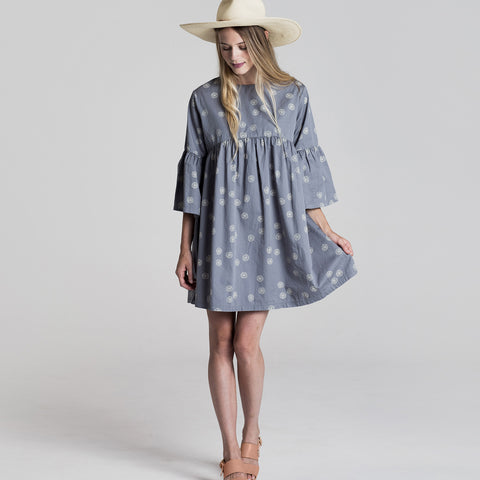 Women's Cotton Sand Dollar Bell Dress - Stormy Blue - S-L
