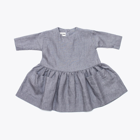 Linen Pocket Dress Short Sleeve - Grey - 6-18m