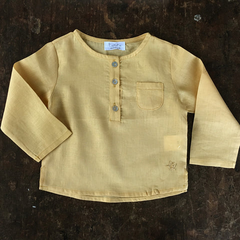 Cotton Baby Pocket Shirt - Mustard - 3-12m
