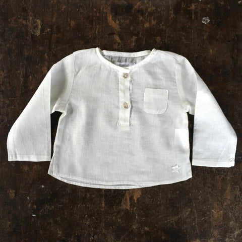 Cotton Baby Pocket Shirt - White - 6m