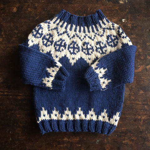 Hand-Knitted Palle Wool/Alpaca Sweater - Blue - 1-10y