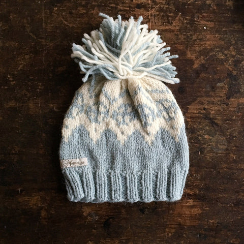 "Hand knitted ""Palle"" wool/alpaca hat - Dusty blue - 1-5 years"