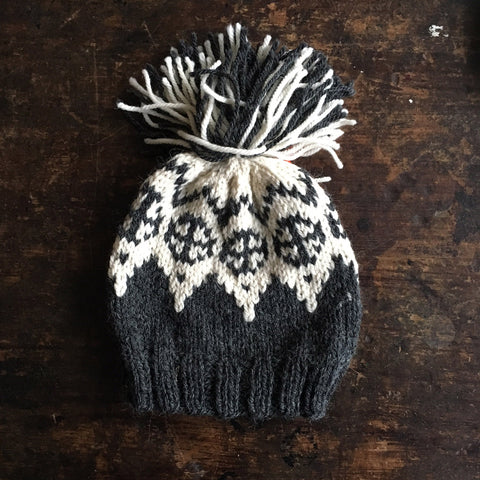 Hand Knitted Palle Wool/Alpaca Hat - Dark Grey