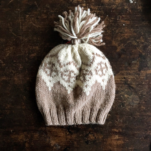 "Hand knitted ""Palle"" wool/alpaca hat - Beige - 1-3 years"