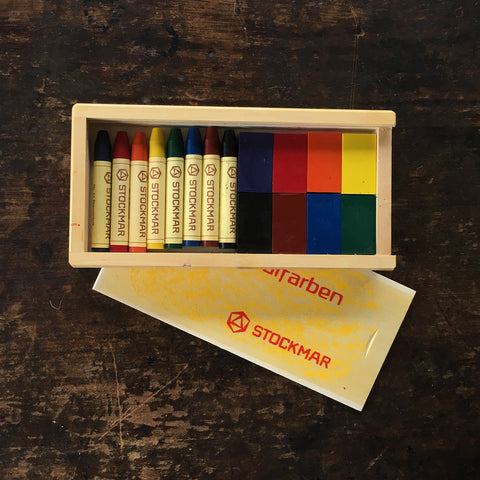 Wax Blocks and Crayons in Wooden Box