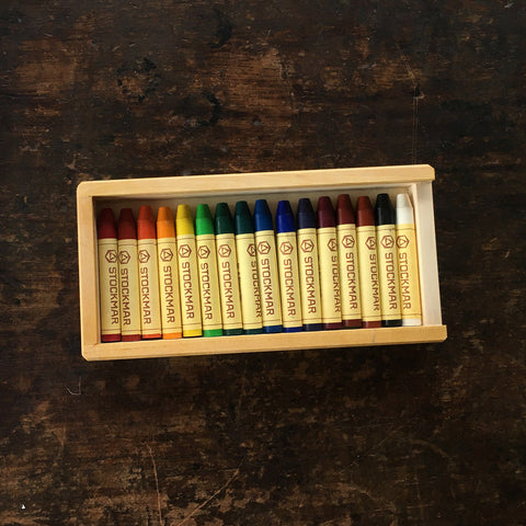 Wax Crayons in Wooden Box