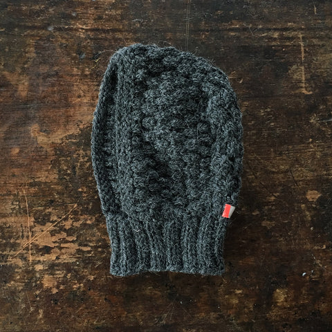 Hand knitted Merino/Alpaca Wool Bonnet - Anthracite - 0-12m